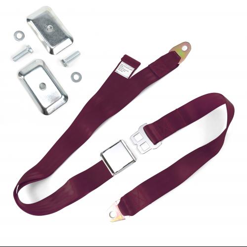 2pt Burgundy Airplane Buckle Lap Seat Belt w/ Flat Plate Hardware instructions, warranty, rebate