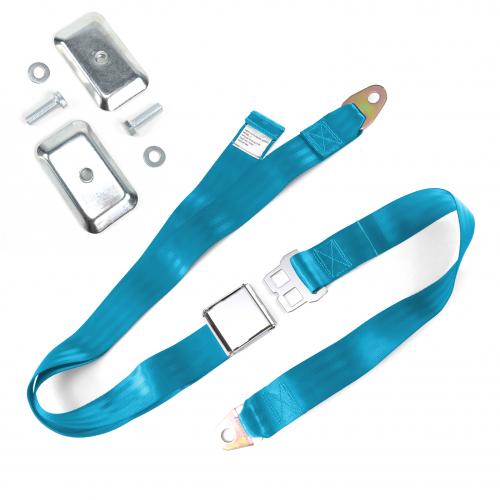 2pt Electric Blue Airplane Buckle Lap Seat Belt w/ Flat Plate Hardware instructions, warranty, rebate