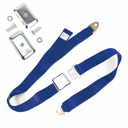 2pt Dark Blue Airplane Buckle Lap Seat Belt w/ Flat Plate Hardware instructions, warranty, rebate