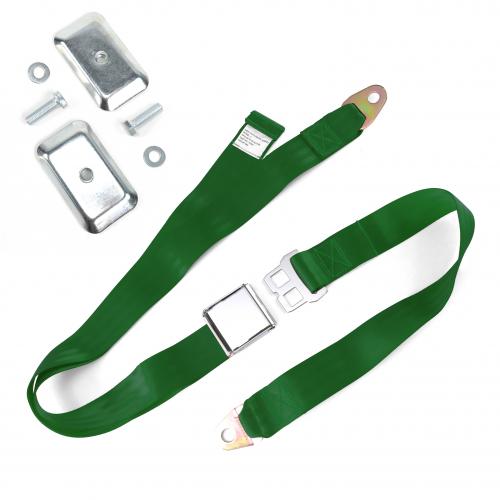 2pt Dark Green Airplane Buckle Lap Seat Belt w/ Flat Plate Hardware instructions, warranty, rebate