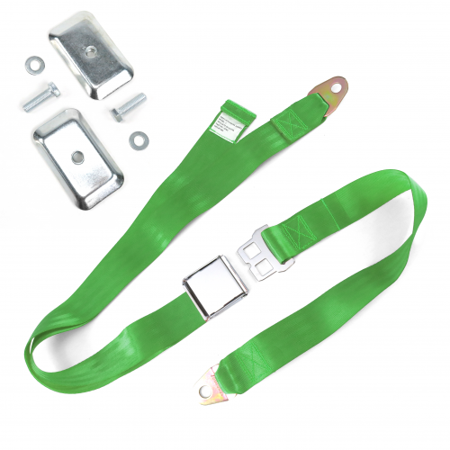 2pt Green Airplane Buckle Lap Seat Belt w/ Flat Plate Hardware instructions, warranty, rebate