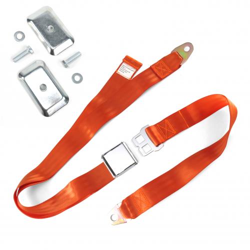 2pt Orange Airplane Buckle Lap Seat Belt w/ Flat Plate Hardware instructions, warranty, rebate