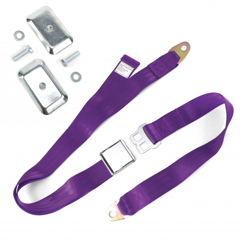2pt Plum Airplane Buckle Lap Seat Belt w/ Flat Plate Hardware instructions, warranty, rebate