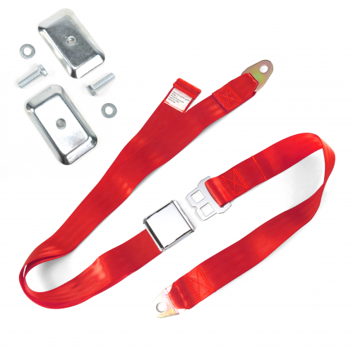2pt Red Airplane Buckle Lap Seat Belt w/ Flat Plate Hardware instructions, warranty, rebate