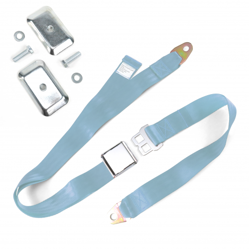 2pt Sky Blue Airplane Buckle Lap Seat Belt w/ Flat Plate Hardware instructions, warranty, rebate