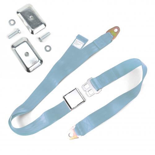 2pt Sky Blue Airplane Buckle Lap Seat Belt w/ Flat Plate Hardware instructions, warranty, rebate