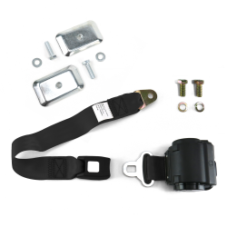 2 Pt Retractable Push Button Buckle Seat Belts with Flat Anchor Hardware - Part Number: 10309920