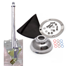 "11"" Transmission Mount Emergency Hand Brake with Black Boot, Silver Ring and Cap - Part Number: ASCBH11SB"