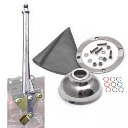 "11"" Transmission Mount Emergency Hand Brake with Grey Boot, Silver Ring and Cap - Part Number: ASCBH11SG"