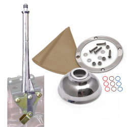 "11"" Transmission Mount Emergency Hand Brake with Tan Boot, Silver Ring and Cap - Part Number: ASCBH11ST"