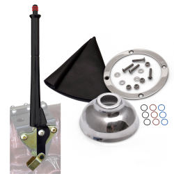 "11"" Black Transmission Mount E-Brake with Black Boot, Silver Ring and Cap - Part Number: ASCBH11BKSB"
