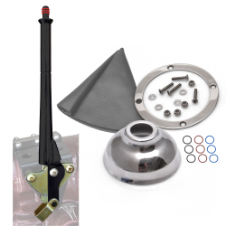 "11"" Black Transmission Mount E-Brake with Grey Boot, Silver Ring and Cap - Part Number: ASCBH11BKSG"