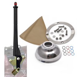 "11"" Black Transmission Mount E-Brake with Tan Boot, Silver Ring and Cap - Part Number: ASCBH11BKST"
