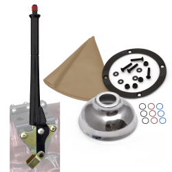 "11"" Black Transmission Mount E-Brake with Tan Boot, Black Ring and Cap - Part Number: ASCBH11BKBT"