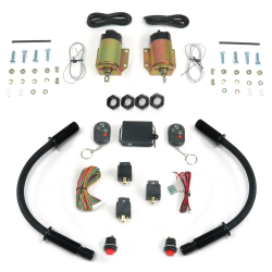 "4 Function 50 Lb Remote Shaved Door Kit with 18"" Black Loom - Part Number: AUTSVPRO54DL18BK"