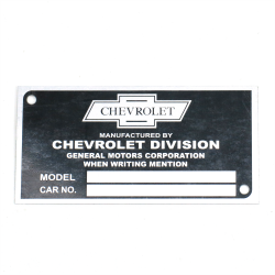 Chevrolet VIN Plate - Part Number: VPAVIN03