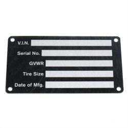 VIN Plate for Trailers, Trucks and Equipment - Part Number: VPAVIN06