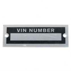 VIN Number Plate - Part Number: VPAVIN07