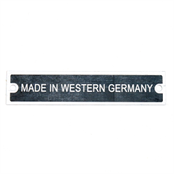 """Made in Western Germany"" VIN Plate - Part Number: VPAVIN08"