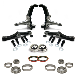 Pro Touring Stock MII & Pinto Spindles with Bearings, Seals and Dust Caps - Part Number: HEXMIISPINBSD2