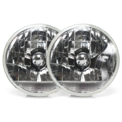 "Snake-Eye 7"" Inch Lens Assembly with Clear Turn Signal - Pair - Part Number: AUTLENA2AS"