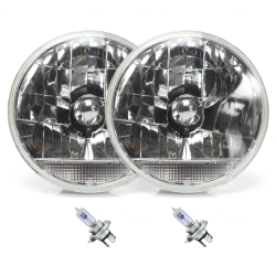 "Snake-Eye 7"" Inch Lens Assembly with H4 bulb and Clear Turn Signal ~ Pair - Part Number: AUTLENA2ABS"