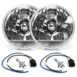 "Snake-Eye 7"" Inch Lens Assembly with H4 bulb, Plug and Clear Turn Signal ~ Pair - Part Number: AUTLENA2AKS"