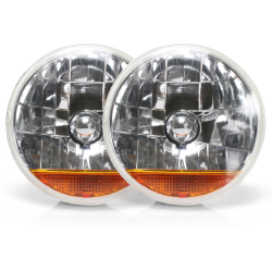"Snake-Eye 7"" Inch Halogen Lens Assembly with Amber Turn Signal ~ Pair - Part Number: AUTLENA3AS"