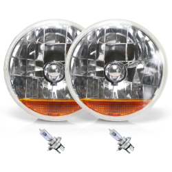 "Snake-Eye 7"" Inch Halogen Lens Assembly with H4 Bulb & Amber Turn Signal ~ Pair - Part Number: AUTLENA3ABS"