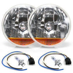"Snake-Eye 7"" Halogen Lens Assembly with H4 Bulb, Plug & Amber Turn Signal ~ Pair - Part Number: AUTLENA3AKS"