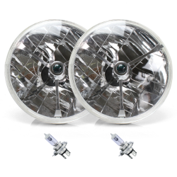 "Tri-Bar 7"" Inch Halogen Lens Assembly with H4 bulb ~ Pair - Part Number: AUTLENB1ABS"