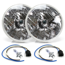 "Tri-Bar 7"" Inch Halogen Lens Assembly with H4 bulb and Plug ~ Pair - Part Number: AUTLENB1AKS"