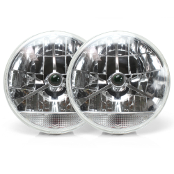 "Tri-Bar 7"" Inch Lens Assembly with Clear Turn Signal ~ Pair - Part Number: AUTLENB2AS"
