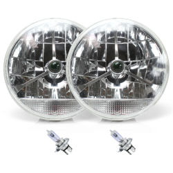 "Tri-Bar 7"" Inch Lens Assembly w/ H4 bulb and Clear Turn Signal ~ Pair - Part Number: AUTLENB2ABS"
