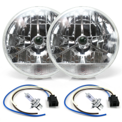 "Tri-Bar 7"" Inch Lens Assembly w/ H4 Bulb, Harness and Clear Turn Signal ~ Pair - Part Number: AUTLENB2AKS"