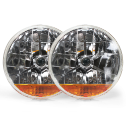 Tri-Bar 7 Inch Halogen Lens Assembly With Amber Turn Signal ~ Pair - Part Number: AUTLENB3AS