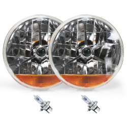 "Tri-Bar 7"" Inch Halogen Lens Assembly w/ H4 bulb and Amber Turn Signal ~ Pair - Part Number: AUTLENB3ABS"