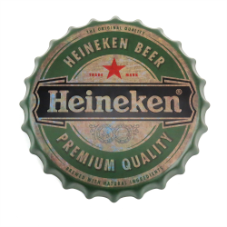 Heineken Beer Bottle Cap Display Sign - Baked Enamel - Part Number: VPABCSIGN05