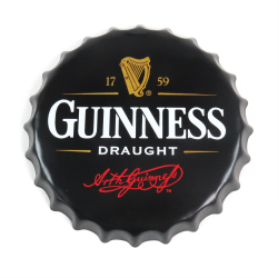 Guinness Draught Beer Bottle Cap Display Sign - Baked Enamel - Part Number: VPABCSIGN04