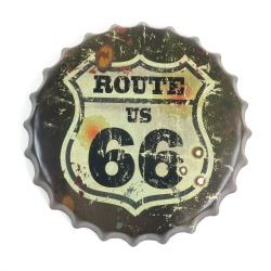 Route 66 Bottle Cap Display Sign - Baked Enamel - Part Number: VPABCSIGN03