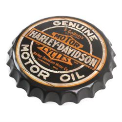 Harley Davidson Motor Oil Motorcycle Bottle Cap Display