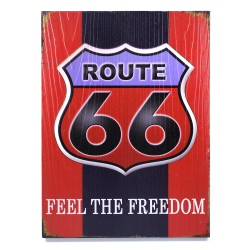 Route 66 Feel The Freedom Wooden Sign - Part Number: VPAWSIGN01