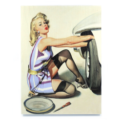 Tire Change Pinup Girl Wooden Sign - Part Number: VPAWSIGN02