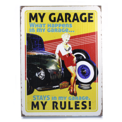 My Garage My Rules - What Happens In My Garage Wooden Sign - Part Number: VPAWSIGN11
