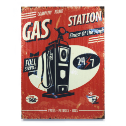 Retro Gas Station Wooden Sign - Part Number: VPAWSIGN13