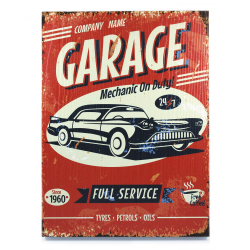 Retro Garage Wooden Sign - Part Number: VPAWSIGN14