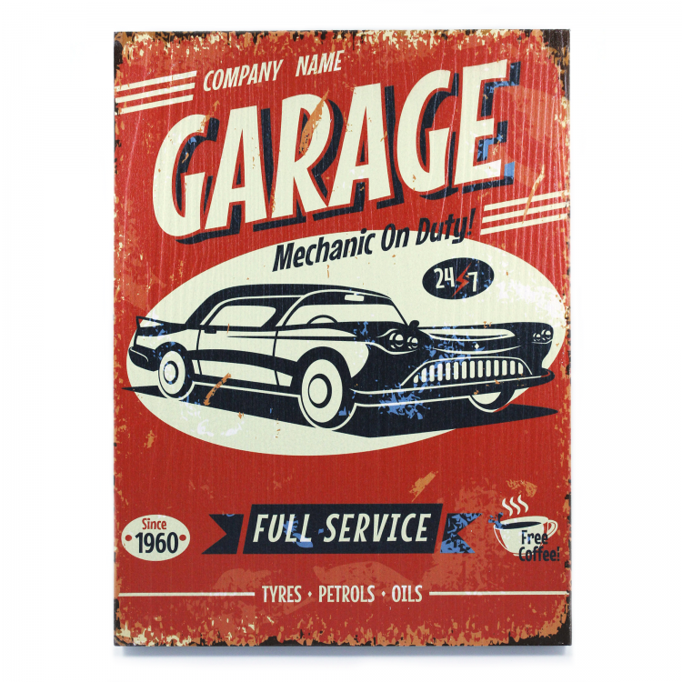 Vintage Parts 323945 My Rules-What Happens in My Garage Wooden Sign