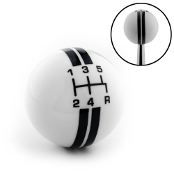 Black Rally Stripe 5 Speed Shift Pattern Ivory Shift Knob with M16x1.5 Insert - Part Number: ASCSN18001