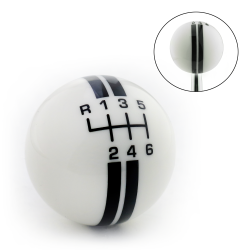 Black Rally Stripe 6 Speed Shift Pattern Ivory Shift Knob with M16x1.5 Insert - Part Number: ASCSN18002