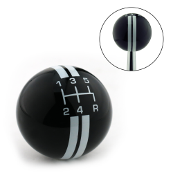 White Rally Stripe 5 Speed Shift Pattern Black Shift Knob with M16x1.5 Insert - Part Number: ASCSN18003